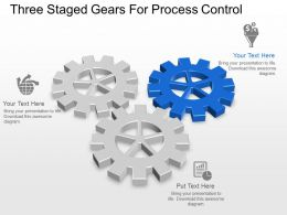 Three Staged Gears For Process Control Powerpoint Template Slide