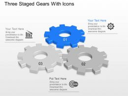 Three Staged Gears With Icons Powerpoint Template Slide