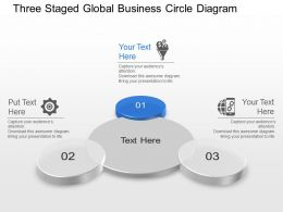 Three Staged Global Business Circle Diagram Powerpoint Template Slide