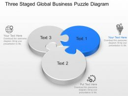 Three Staged Global Business Puzzle Diagram Powerpoint Template Slide
