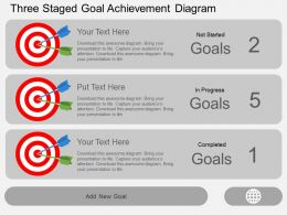 Three Staged Goal Achievement Diagram Flat Powerpoint Design