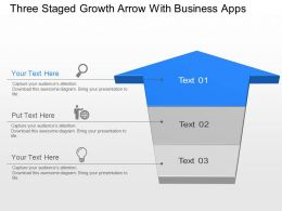 Three Staged Growth Aarow With Business Apps Powerpoint Template Slide