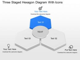 Three Staged Hexagon Diagram With Icons Powerpoint Template Slide