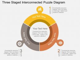 three_staged_interconnected_puzzle_diagram_flat_powerpoint_design_Slide01
