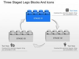 Three Staged Lego Blocks And Icons Powerpoint Template Slide