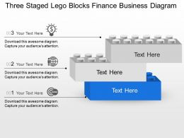 Three Staged Lego Blocks Finance Business Diagram Powerpoint Template Slide