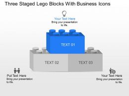 Three Staged Lego Blocks With Business Icons Powerpoint Template Slide