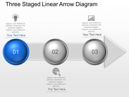 Three Staged Linear Arrow Diagram Powerpoint Template Slide