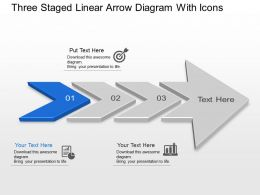 Three Staged Linear Arrow Diagram With Icons Powerpoint Template Slide