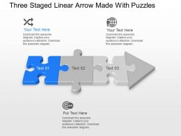 Three Staged Linear Arrow Made With Puzzles Powerpoint Template Slide