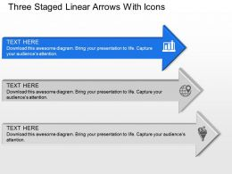 Three Staged Linear Arrows With Icons Powerpoint Template Slide