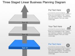 Three Staged Linear Business Planning Diagram Powerpoint Template Slide