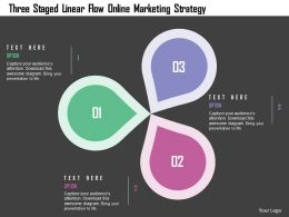 Three Staged Linear Flow Online Marketing Strategy Flat Powerpoint Design