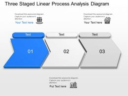 Three Staged Linear Process Analysis Diagram Powerpoint Template Slide