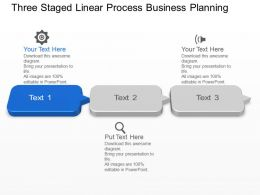 Three Staged Linear Process Business Planning Powerpoint Template Slide