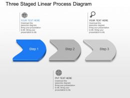 Three Staged Linear Process Diagram Powerpoint Template Slide