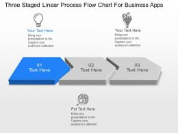 Three Staged Linear Process Flow Chart For Business Apps Ppt Template Slide