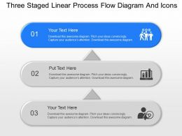 Three Staged Linear Process Flow Diagram And Icons Powerpoint Template Slide