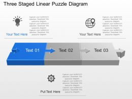 Three Staged Linear Puzzle Diagram Powerpoint Template Slide