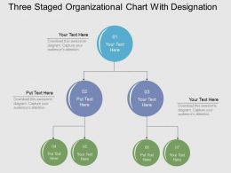 Three Staged Organizational Chart With Designation Flat Powerpoint Design