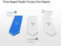 Three Staged Parallel Process Flow Diagram Powerpoint Template Slide