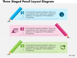 Three Staged Pencil Layout Diagram Flat Powerpoint Design
