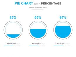 Three Staged Pie Chart With Percentage Powerpoint Slides