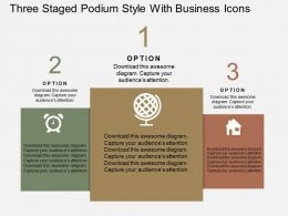 Three Staged Podium Style With Business Icons Flat Powerpoint Design