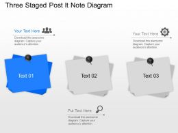 Three Staged Post It Note Diagram Powerpoint Template Slide