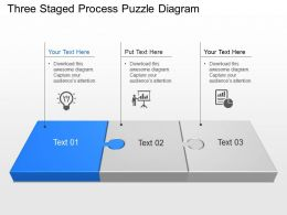 Three Staged Process Puzzle Diagram Powerpoint Template Slide
