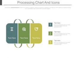 Three Staged Processing Chart And Icons Flat Powerpoint Design