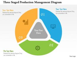 Three Staged Production Management Diagram Flat Powerpoint Design
