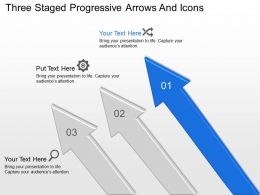 Three Staged Progressive Arrows And Icons Powerpoint Template Slide