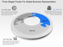 Three Staged Puzzle For Global Business Representation Powerpoint Template Slide