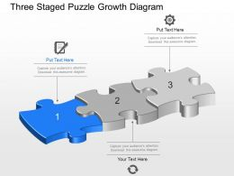 Three Staged Puzzle Growth Diagram Powerpoint Template Slide