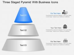 Three Staged Pyramid With Business Icons Powerpoint Template Slide