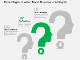 Three Staged Question Marks Business Icon Diagram Flat Powerpoint Design