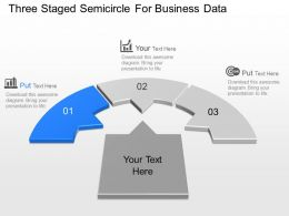 Three Staged Semicircle For Business Data Powerpoint Template Slide