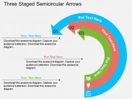 Three Staged Semicircular Arrows Flat Powerpoint Design