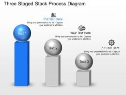 Three Staged Stack Process Diagram Powerpoint Template Slide