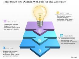 Three Staged Step Diagram With Bulb For Idea Generation Powerpoint Template
