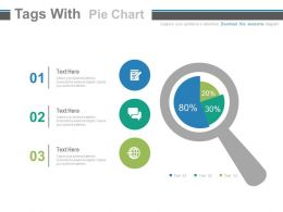 Three Staged Tags With Pie Chart And Magnifier Powerpoint Slides