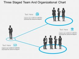 Three Staged Team And Organizational Chart Flat Powerpoint Design