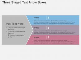 Three Staged Text Arrow Boxes Flat Powerpoint Design
