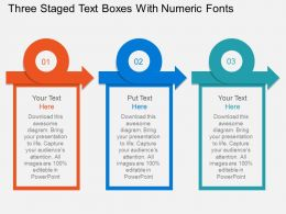 Three Staged Text Boxes With Numeric Fonts Flat Powerpoint Desgin