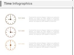 Three Staged Time Infographics Diagram Powerpoint Slides