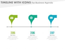 Three Staged Timeline With Icons For Business Agenda Powerpoint Slides