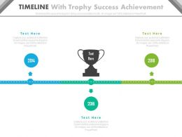 Three Staged Timeline With Trophy Success Achievement Powerpoint Slides