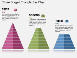 Three Staged Triangle Bar Chart Flat Powerpoint Design