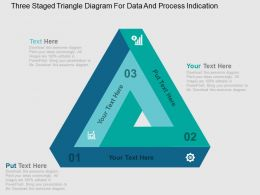 Three Staged Triangle Diagram For Data And Process Indication Flat Powerpoint Design